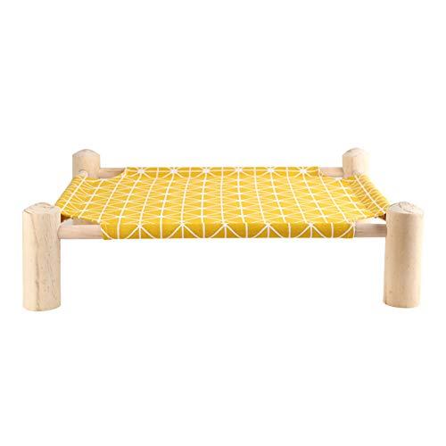 GY Katzenhängematte Triangle-katzenstreu Massivholz Sommer Atmungsaktiv Abnehmbar Und Waschbar Tierbedarf Gepolstertes Bett,Yellow,50 * 45cm (Wand-moskitonetz)