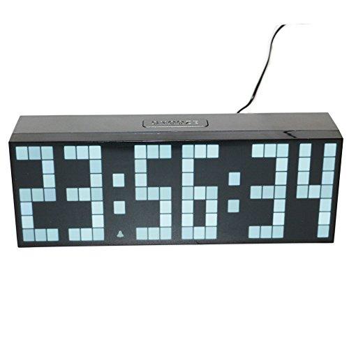 Preisvergleich Produktbild LambTown Große LED Anzeige Uhr Desktop Wandmontage Digitaluhr mit Temperatur Kalender für Wohnzimmer Werkstatt Weiß