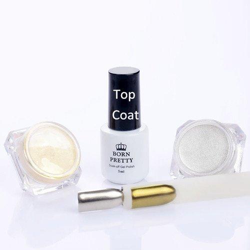 Born Pretty 4Pcs kit Poudres Effet Miroir des Ongles pour Manucure Nail Art Pigment Chromé & 5ml Top Coat Pailettes Or & Argentées