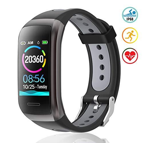TagoBee Fitness Tracker TB14 IP68 Wasserdichtes Smart Band 1.14'' LCD Farbbildschirm Fitness Armband mit Pulsmesser kompatibel mit Android und iOS Black