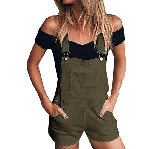 iHENGH Damen Frauen Lose Denim Trägerhose Overalls Jeans Demin Shorts Jumpsuit(Grün, L)