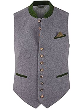 TOP-Quality Trachtenweste Herren Loden Wolle Trachten-Gilet Herrenweste Hochzeit Grau/Hellgrau