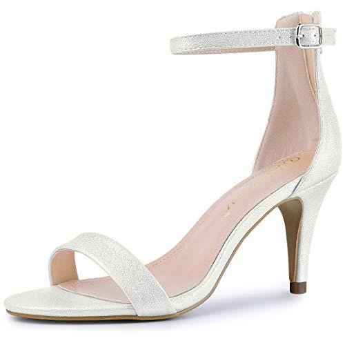 Allegra K Damen Peep Toe Glitzer Stiletto High Heels Sandalen Silber 38 EU -