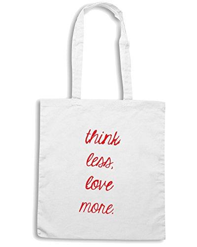 T-Shirtshock - Borsa Shopping TDM00274 think less love more Bianco