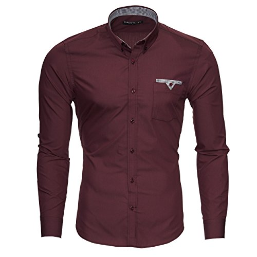 Merish Hemd Herren Langarmhemd Brusttasche Pocket Businesshemd Design Premium Qualität208 Bordeaux
