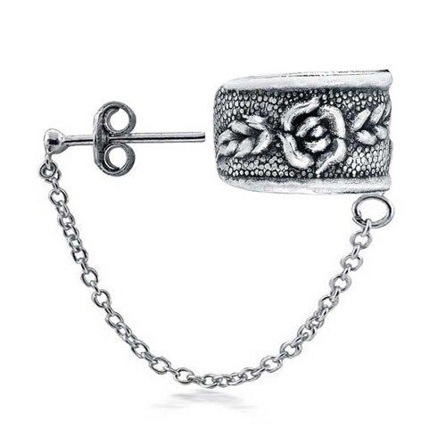 Bling Jewelry Rosa Fiore Foglia dell'orecchio del polsino con la catena One Piece 925 - Rosa Anelli Dell'orecchio