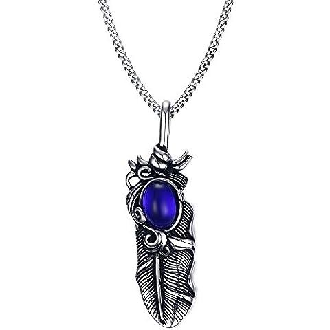 Vnox Collana Uomo Acciaio metallo Feather Blue Sapphire dei monili dell'annata con catena in acciaio