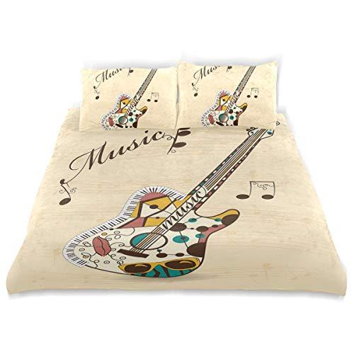 JOSENI Bettwäsche-Set, Mikrofaser,Abstrakte flippige Gitarren-Instrument-Melodien-musikalische Anmerkungen und Handschrift,1 Bettbezug 240 x 260cm + 2 Kopfkissenbezug 80x80cm -