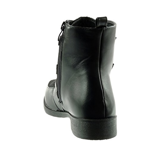 lanière cavalier Noir verni bi motard Chaussure Talon boucle CM Mode matière 3 femme Bottine Angkorly bloc qtxzHwn
