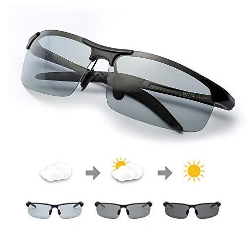 TJUTR Polarisierte Sonnenbrille Photochromatisch für Herren Sports 100% UV 400 Schutz Metallrahmen Leicht für Autofahren (Schwarz(sport)/Grau) -