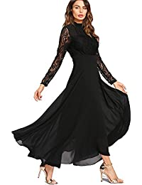 1afaaf4e977 Aox Women Fashion Long Sleeve Crochet Lace A line Chiffon Maxi Dress Lady  High Waist Party
