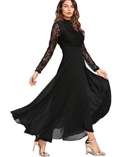 Aox Damen Classy Langarm Crochet Lace Patchwork A-Linie Chiffon Swing Kleid Schönheit Empire Party Brautjungfer Maxi Kleid Vestidos (46, Schwarz)