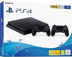 Idea Regalo - Sony PS4 Console Slim 1TB + 2 Controllers Dual Shock 4 Colore Nero Nuovo chassis F
