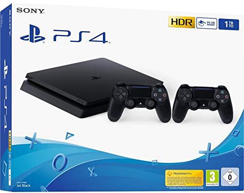 Foto Sony PS4 Console Slim 1TB + 2 Controllers Dual Shock 4 Colore Nero Nuovo chassis F