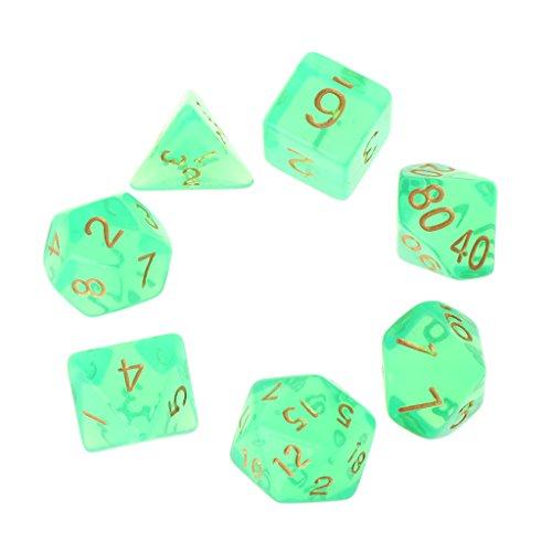 Yunso 7Stück/Set Polyedrische Würfel Set Doppel-Farben Polyedrischer Spielwürfel für Dungeons and Dragons DND Tischkartenspiele (Grün)