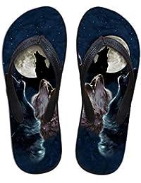 DAIDAITX Zapatillas Patrón De Lobo Animal Zapatillas De Hombre Zapatillas Caseras Casuales Zapatillas De Playa Planas