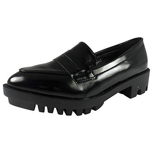 LoudLook Damen Frauen Strappy Kn?Chel Platform Slip On Profilierte Low Heel Schuhe Stiefel Gr??e 5 Strappy Platform Heels