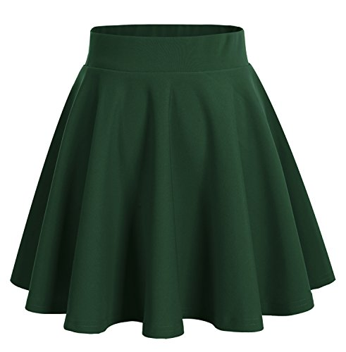 bridesmay Damenrock Basic Solid Vielseitige Dehnbaren Informell Minikleid Retro Mini Rock Faltenrock Dark Green L (Best Girl Cosplay)