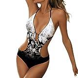 OPAKY Ropa De Baño Bañador de una Pieza Bikini Mujer 2019 Las Mujeres Atan para Arriba Impreso Acolchado Push-up Bikini de 1 Pieza Traje de Baño Bikini Push Up Mujer Sin Respaldo Playa