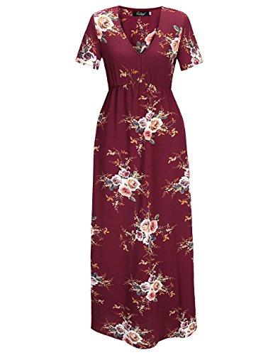 Vestito floreale maxi da donna vintage Ruiyige Rosso scuro