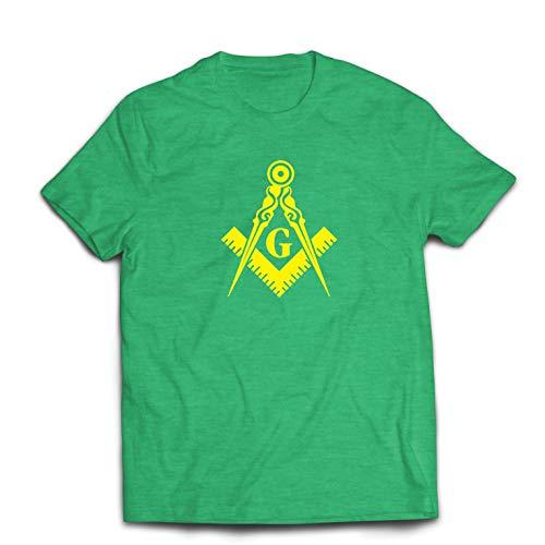lepni.me Camisetas Hombre Logotipo fraterno y masónico, Plaza de la Francmasonería y Brújula. (Small Brezo Verde Amarillo)