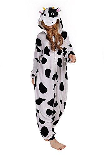 Imagen de abyed kigurumi pijamas unisexo adulto traje disfraz adulto animal pyjamas,vaca adulto talla s para altura150 158cm alternativa