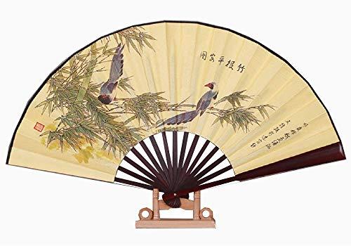 XMorning Ventaglio Elegante in Seta e bambù, Stile Tradizionale Cinese (serenità del bambù)