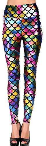 erdbeerloft - Kostüm Fasching Karneval Leggins Leggings Regenbogen Fisch Print, One Size S-M-L, Mehrfarbig