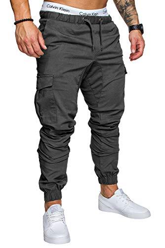 REPUBLIX Herren Cargo Jogger Chino Hose Pants Mit Stretch R0701 Anthrazit W32