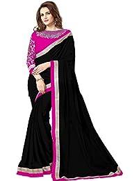 Om Designer Chiffon Saree With Blouse Piece (Black_Free Size)