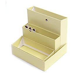 DIY lindo mini caja de escritorio en colores pastel de maquillaje cosmético del organizador del almacenaje amarillento