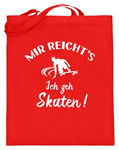 shirt-o-magic Skateboard: Ich geh Skaten! - Jutebeutel (mit langen Henkeln) -38cm-42cm-Rubinrot
