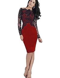 LILICAT Frauen Elegant Spitze Abendkleid Partykleid Damen Langarm A-Line  Sexy Bodycon Schulter Cocktailkleid Geschäft Pencil Kleid Knie-Kleid… c8e3b5f2e2