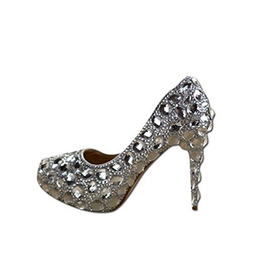 Brautschuhe - Kristall Strass Braut Schuhe Diamant hochhackigen Hochzeit Silber Hochzeit Schuhe (Mit Höhe: 11cm) - Hochzeitsschuhe für Frauen (Farbe : Heel - Big Drill, größe : 38)