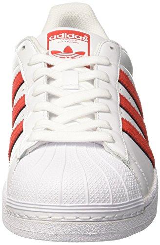 adidas Superstar, Scarpe da Ginnastica Basse Uomo Bianco (Footwear White/solar Red/solar Red)