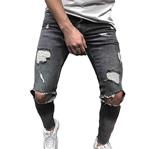 Tomwell jeans da uomo casual pantaloni skinny attillati strappati pantaloni jeans aderenti elasticizzati da uomo pantaloni denim denudati slim fit con zip grigio xs