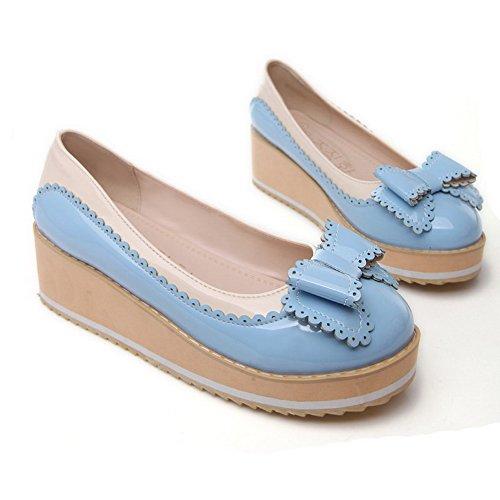 VogueZone009 Femme Couleurs Mélangées Pu Cuir à Talon Correct Rond Tire Chaussures Légeres Bleu