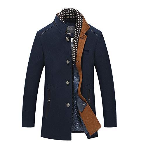 Odjoy-fan-uomo moda attività commerciale giacca a vento sezione media e lunga addensare vestibilità peloso doppio collo cappotto sartoriale slim fit giaccone soprabito invernale casual elegante