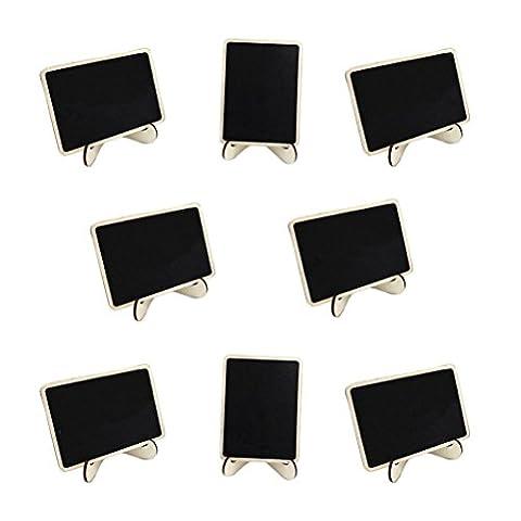 ROSENICE 10pcs Tableau à Mémos Mini Tableau Noir Bois Tableau à Craie avec Support Base