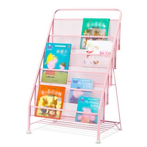 REGAL ZCJB Kinderregale Eisen-Kunst-Kindergarten-Buch-Ausstellungsstand/Buch Passend Für Schule, Familie, Firma, Bibliothek (Farbe : 5-Tier, größe : Tender pink)