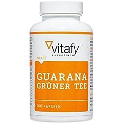 Vitafy Essentials Guarana Grüner Tee, 100 Kapseln - F-Burn - Koffein - Made in Germany - Stoffwechsel - Hoch Dosiert