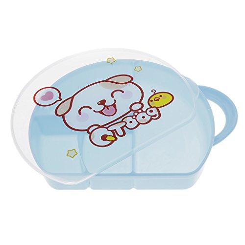 Baoblaze Baby Kunststoff Teller Schüssel Tischset Frischhaltedose mit Deckel Kinderteller 4 Fächer Mahlzeit-Behälter Bestes Baby Geschenk - Blau