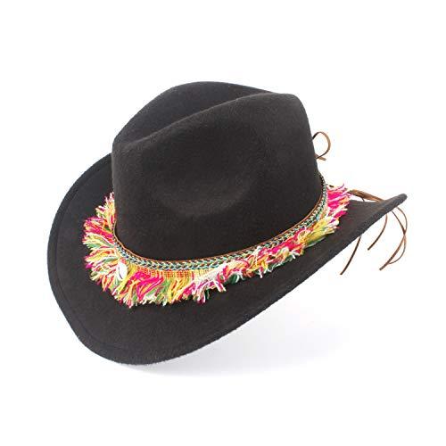ZHENGYIXIA HAT Für Damenhüte Frauen Wollfilz Westerly Cowboy Roll-up Krempe Dame Cowgirl Sombrero Hut Mit Mode Band (Farbe : Schwarz, Größe : 56-59cm)