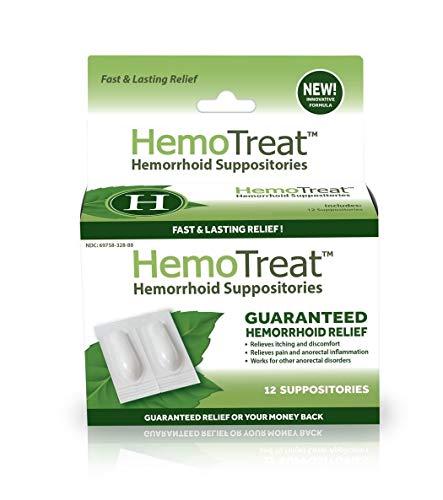 HemoTreat ® Supositorio para las Hemorroides, Tratamiento Rápido, Eficaz y Seguro para el Alivio del Síntoma Hemorroidal