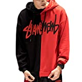ZChun Männer Student Harajuku Kontrast Farbe Hoodies Buchstaben Kratzer Scrawl Gedruckt Dick Pullover Sweatshirt Hip Hop Rapper Lose Streetwear (Schwarz-rot, S)