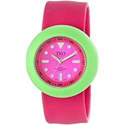 TKO ORLOGI Women's TK588-FGW Pink Rubber Slap Watch