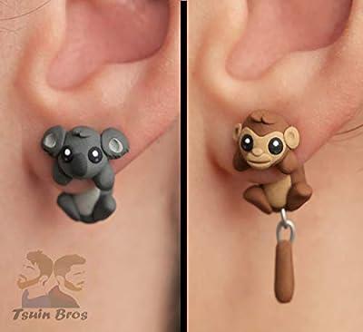 Boucles d'oreilles Singe ou Koala. Boucles d'oreilles animaux en pâte polymère. Vendu comme une paire de boucles d'oreilles.