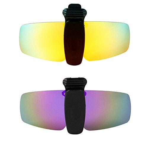 HKUCO Verstärken Sonnenbrille Clip 24 Karat Gold/Lila Polarisiert Lenses Hat Visors Clip-on Sonnenbrille Zum Fishing/Biking/Hiking/Golf UV400 Protect