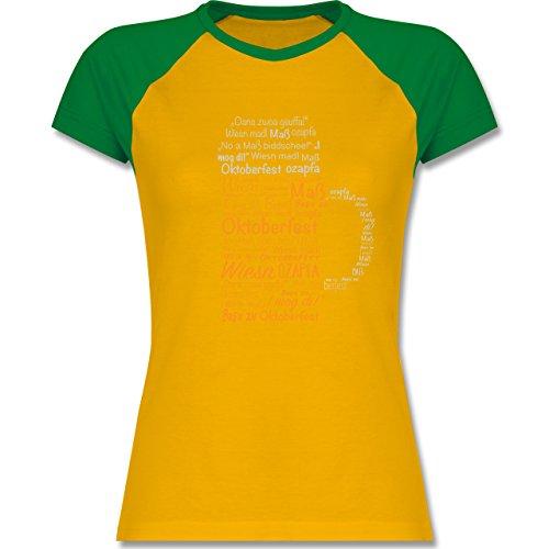 Shirtracer Oktoberfest Damen - Oktoberfest Maß - Zweifarbiges Baseballshirt/Raglan T-Shirt für Damen Gelb/Grün