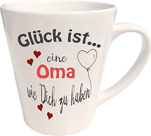 WarmherzIch Latte Tasse Glück ist… Oma Kaffee Milchkaffee Becher liebevoll Bedruckt Omi...